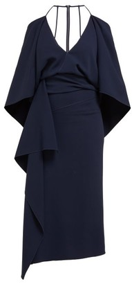 Roland Mouret Vincent Draped Crepe Dress - Womens - Navy