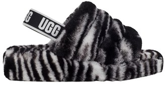UGG Fluff Yeah Zebra-Print Sheepskin Slingback Slides