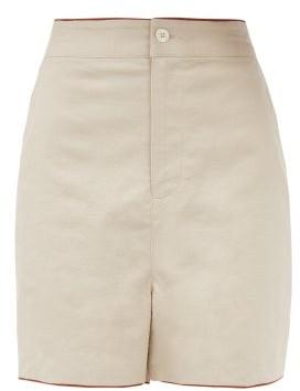 STAUD Joel High-rise Linen-blend Shorts - Beige