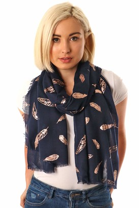 Style Slice Lightweight Evening Wrap or Scarf Floral & Feather Scarves Rose Gold Silver Foil Ladies Scarfs Pashmina Shawls Graduation Bridal Wedding Girlfriend Gifts