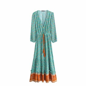 Top Vigor TOP-VIGOR Women's Casual Boho Dresses for Women Bohemian Long Sleeve Floral Print Retro V Neck Tie Beach Style Long Midi Dress Light Green