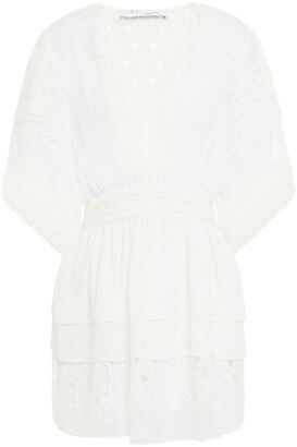 IRO Mioua Tiered Crochet-paneled Georgette Mini Dress