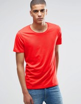 Selected Short Sleeve Deep Crew Neck T-Shirt
