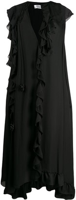 Victoria Beckham Cape-Style Sleeve Ruffled Dress