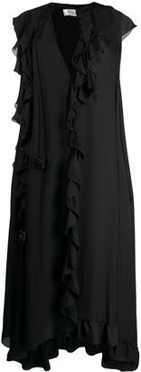 Victoria Beckham cape-style sleeve ruffled dress