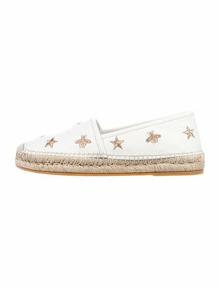 Gucci Bee Accent Leather Espadrilles White