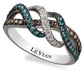 LeVian 14K Vanilla Gold Iced Blueberry, Vanilla and Chocolate Diamond Ring, 0.62 TCW