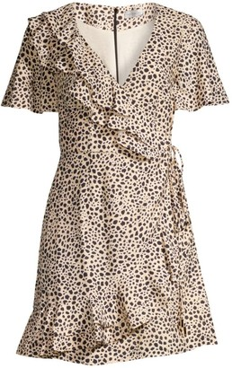 Rebecca Vallance Anya A-Line Leopard Wrap Dress