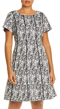Adrianna Papell Piped Watercolor Print Fit-and-Flare Dress