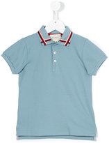 Gucci Kids - stripe neck polo shirt - kids - Cotton/Spandex/Elastane - 4 yrs