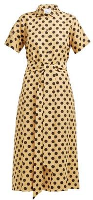 Lisa Marie Fernandez Polka-dot Print Slubbed Linen-poplin Shirtdress - Womens - Black Print