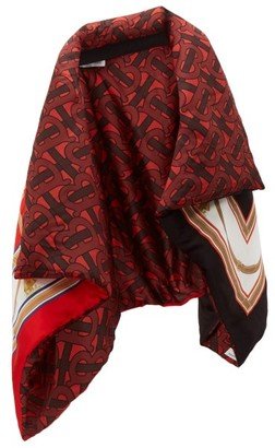 Burberry Tb Monogram And Archive-print Padded Silk Cape - Womens - Red Multi