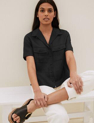 Marks and Spencer Pure Irish Linen Short Sleeve Shirt