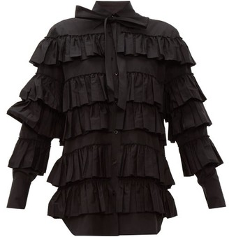 Valentino Tiered Ruffled Cotton Blouse - Womens - Black
