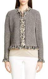 St. John Artisanal Basket Inlay Jacquard Knit Jacket