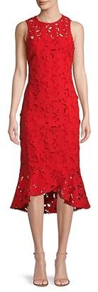 Shoshanna Floral Cutout Cotton High-Low Dress