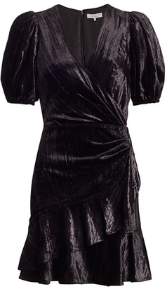 Parker Velvet Puff-Sleeve Faux-Wrap Dress