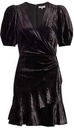 Parker Velvet Puff-Sleeve Faux-Wrap Dress