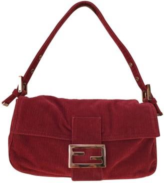 Fendi Baguette Burgundy Velvet Handbags