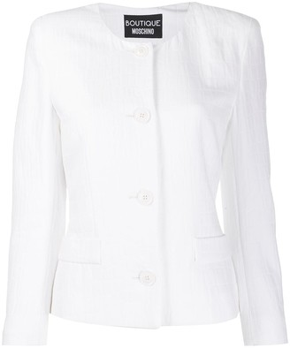 Boutique Moschino Crocodile Effect Fitted Jacket