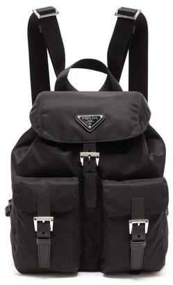 Prada Vela Logo-plaque Nylon Backpack - Black