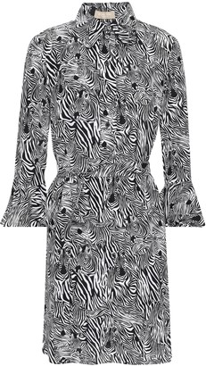 Michael Kors Zebra-print Silk Crepe De Chine Mini Shirt Dress