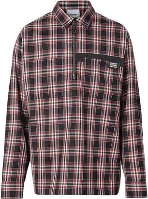 Burberry Logo Detail Check Wool Twill Shirt