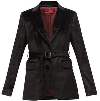 Sies Marjan Terry Single-breasted Belted Velvet Jacket - Black