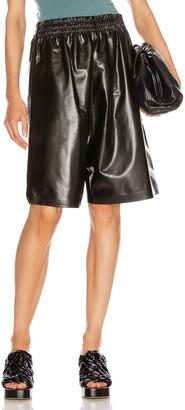 Bottega Veneta Leather Bermuda Short in Fondente   FWRD