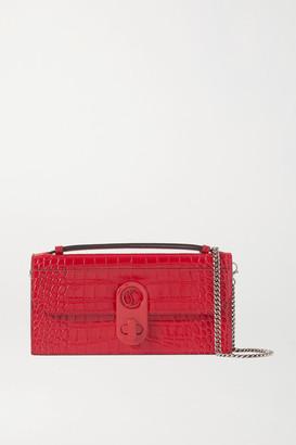 Christian Louboutin Elisa Croc-effect Leather Shoulder Bag - Red