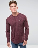 Hollister Long Sleeve Top Crew Icon Logo Slim Fit In Red Marl