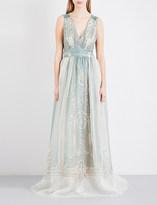 Alberta Ferretti Baroque-print silk gown