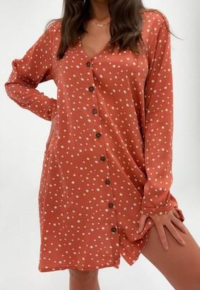 Missguided Dalmatian Print Button Through Smock Dress