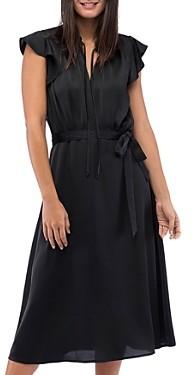 B Collection by Bobeau Savoy Satin Flutter-Sleeve Dress