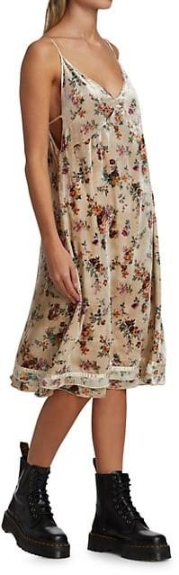 Thumbnail for your product : R 13 Floral Velvet Slip Dress