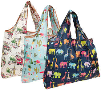 Wrapables Shopping Bags - Pink & Orange Elephants & Giraffes Reusable Shopping Bag - Set of Three