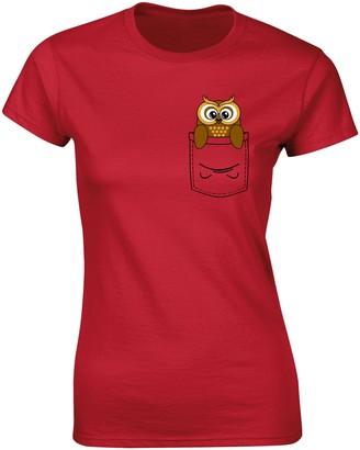 Flip Womens Owl Bird Cute Animal Pocket Print T-Shirt Red UK 12-14 (XL)