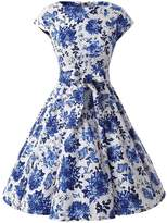 Ensnovo Womens Cap Sleeve Floral Vintage Rockabilly Swing Party Cocktail Dress Blue XS