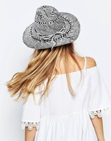 Asos Straw Fedora Hat in Mono Textured Straw