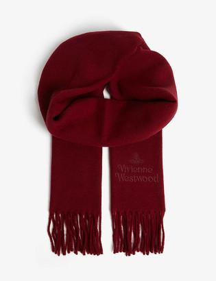 Vivienne Westwood Orb logo tasselled wool scarf