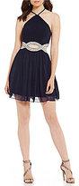 Xtraordinary Y-Neck Beaded Infinity Waist Fit-And-Flare Dress
