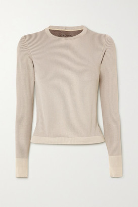Cordova Signature Ribbed Stretch-knit Top - Beige