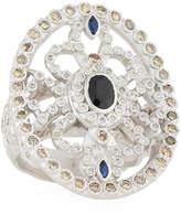 Armenta New World Sapphire Oval Shield Ring w/ Diamonds, Size 7