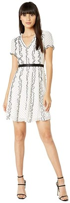 BCBGMAXAZRIA Polka Dot Cocktail Dress (Off-White Combo) Women's Dress