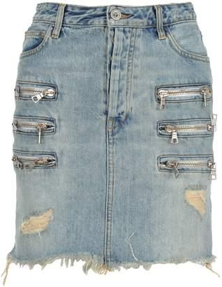 Taverniti So Ben Unravel Project Unravel Bleach Denim Triple Zip Skirt
