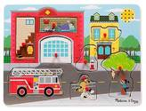 Melissa & Doug ; Around the Fire Station Sound Puzzle - Wooden Peg Puzzle...