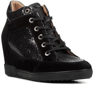 Geox D Carum Leather Wedge Sneaker