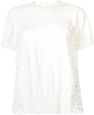 Sacai Pleated Polka Dot Back Knitted Top