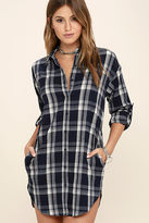 LuLu*s Leaves and Thank You Navy Blue Plaid Shirt Dress