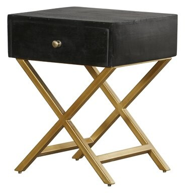 Thumbnail for your product : Mercer41 Erich Black & Brass Pedestal End Table with Storage